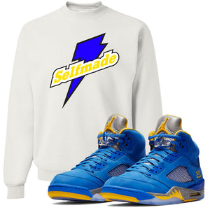 This white and yellow sweater will match great with your Jordan 5 Alternate Laney JSP shoes