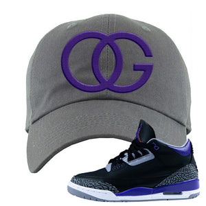 Air Jordan 3 Court Purple Dad Hat | OG, Dark Gray