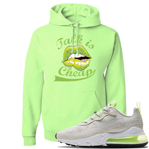 Air Max 270 React Ghost Green Sneaker Neon Green Pullover Hoodie | Hoodie to match Nike Air Max 270 React Ghost Green Shoes | Talk Is Cheap