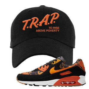 Air Max 90 Orange Camo Dad Hat | Trap To Rise Above Poverty, Black