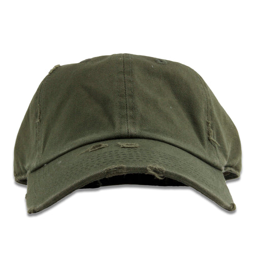 The olive blank kid's distressed dad hat has an unstructured soft crown and a bent brim