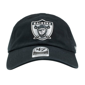 Embroidered on the front of the Oakland Raiders dad hat is the Raiders logo