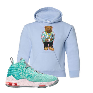 LeBron 17 'South Beach' Kid's Hoodie | Light Blue, Sweater Bear