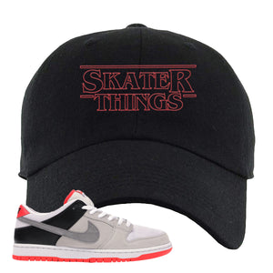 Nike SB Dunk Low Infrared Orange Label Skater Things Black Dad Hat To Match Sneakers
