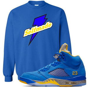 This blue and yellow sweater will match great with your Jordan 5 Alternate Laney JSP shoes