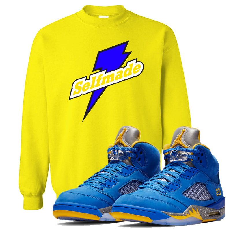 This yellow and blue sweater will match great with your Jordan 5 Alternate Laney JSP shoes