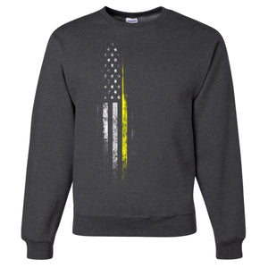 Standard Issue Yellow Lives Matter Distressed Gray Grunt Life Crewneck Sweater