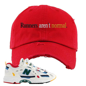 Aime Leon Dore X New Balance 827 Abzorb Multicolor 'White' Distressed Dad Hat | Red, Runners Aren't Normal