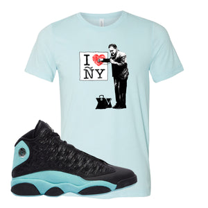 I Heart ÑY Doctor Heather Ice Blue T-Shirt To Match Jordan 13 Island Green Sneakers
