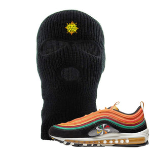 Embroidered on the forehead of the Air Max 97 Sunburst black sneaker matching ski mask is the Vintage Lion Head logo