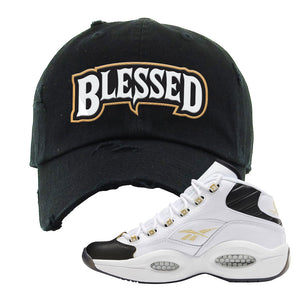 Question Mid Black Toe Sneaker Black Distressed Dad Hat | Hat to match Reebok Question Mid Black Toe Shoes | Blessed Arch