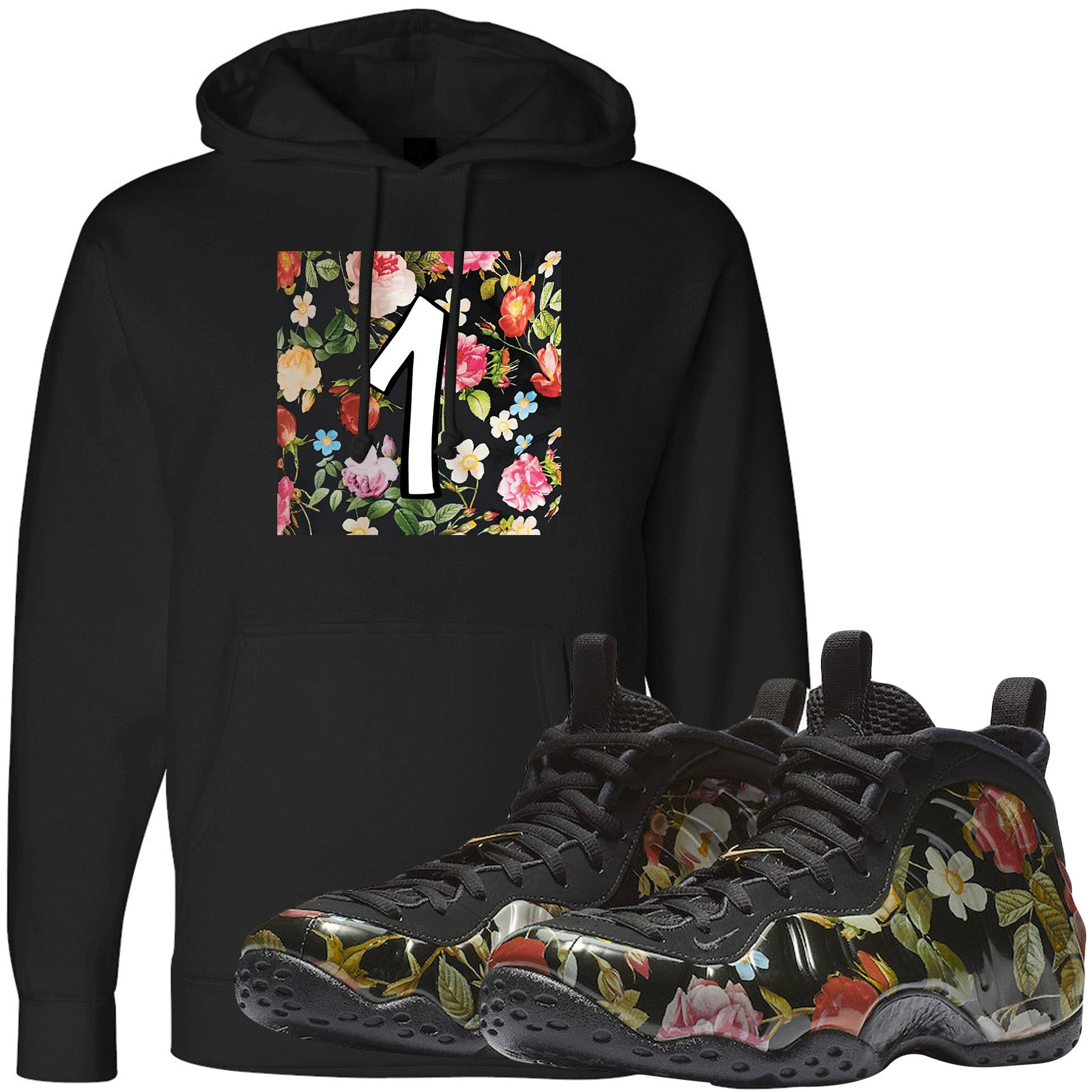 abd06a4147e2f Wear this sneaker matching hoodie to match your Air Foamposite One Floral  sneakers. Match your
