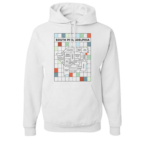 South Philly Map Pullover Hoodie | South Philadelphia Map White Pullover Hoodie the front of this pullover hoodie has the south philly map