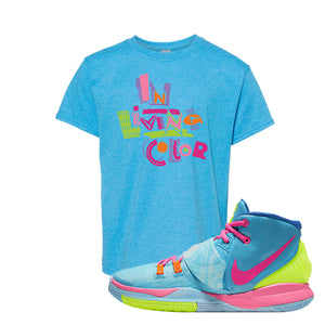 Kyrie 6 Pool Kids T-Shirt | In Living Color, Heather Sapphire
