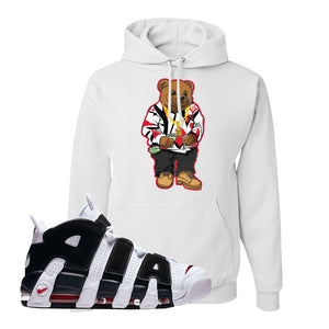 Air More Uptempo White Black Red Hoodie | White, Sweater Bear