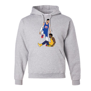 Simmons Step Over Pull Over Hoodie | Ben Simmons Step Over Ash Pullover Hoodie the front of this hoodie has the simmons stepover design