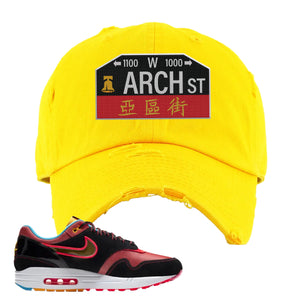 Air Max 1 NYC Chinatown Arch Street Philadelphia Gold Distressed Dad Hat To Match Sneakers