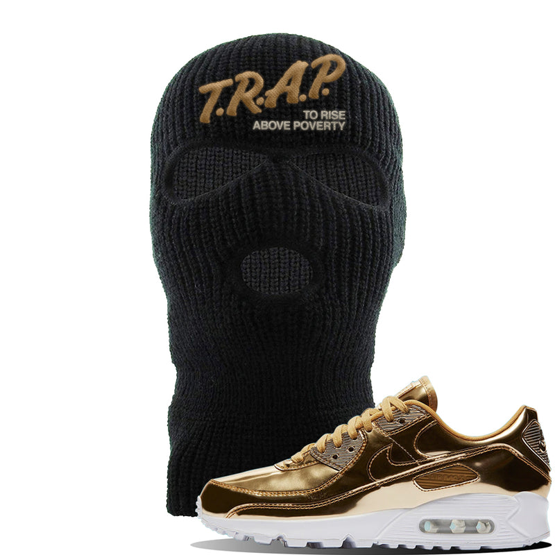 Air Max 90 WMNS 'Medal Pack' Gold Sneaker Black Ski Mask | Winter Mask to match Nike Air Max 90 WMNS 'Medal Pack' Gold Shoes | Trap to Rise Above