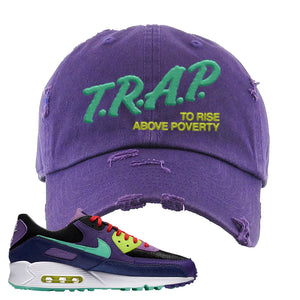 Air Max 90 Cheetah Distressed Dad Hat | Trap To Rise Above Poverty, Purple