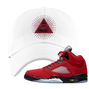 Air Jordan 5 Raging Bull Dad Hat | All Seeing Eye, White