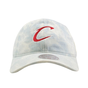 embroidered on the front of the cleveland cavaliers denim dad hat is the cavaliers logo embroidered in red and white