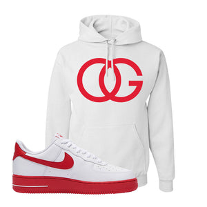 Air Force 1 Low Red Bottoms Hoodie | White, OG