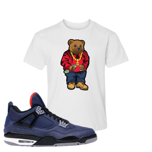 Jordan 4 WNTR Loyal Blue Sweater Bear White Sneaker Hook Up Kid's T-Shirt