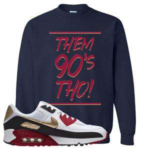 Air Max 90 Chinese New Year Crewneck Sweatshirt | Navy Blue, Them 90's Tho