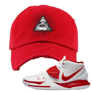 Kyrie 6 White University Red Distressed Dad Hat | All Seeing Eye, Red