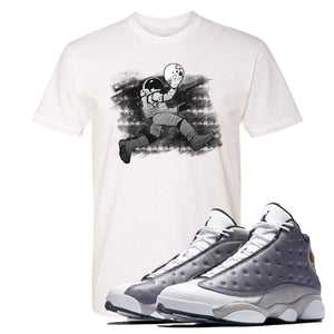 Jordan 13 Atmosphere Grey Astronaut Jump White Shirt