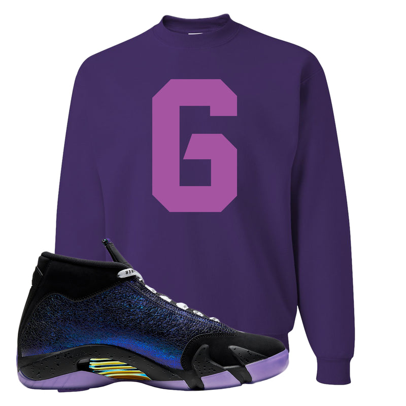 Jordan 14 Doernbecher Crewneck Sweatshirt | Purple, Number 6