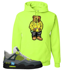 Jordan 4 Neon Sneaker Safety Green Pullover Hoodie | Hoodie to match Nike Air Jordan 4 Neon Shoes | Sweater Bear