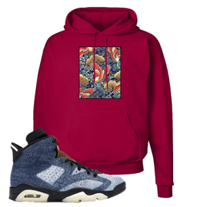 Jordan 6 Washed Denim Hoodie | Deep Red, Crane Over Water