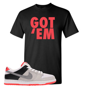 Nike SB Dunk Low Infrared Orange Label Got Em Black T-Shirt To Match Sneakers