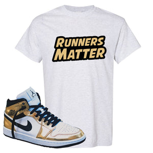 Air Jordan 1 Mid SE Metallic Gold T Shirt | Runners Matter, Ash