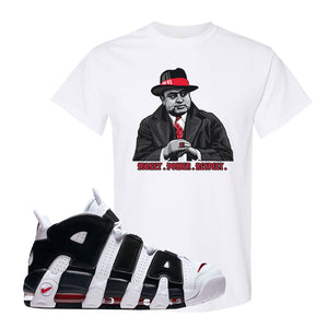 Air More Uptempo White Black Red T Shirt | White, Capone Illustration