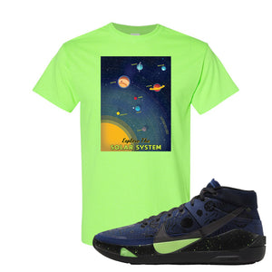 KD 13 Planet of Hoops T Shirt | Vintage Space Poster, Neon Green