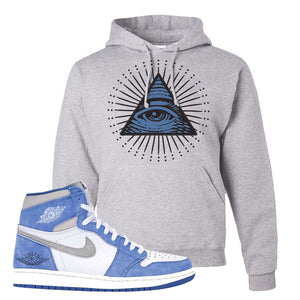 Air Jordan 1 High Hyper Royal Pullover Hoodie | All Seeing Eye, Ash