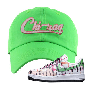 Air Force 1 Low Multi-Colored Tie-Dye Dad Hat | Neon Green, Chiraq