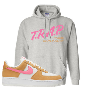 Nike Air Force 1 Pink Orange Hoodie | Trap To Rise Above Poverty, Ash