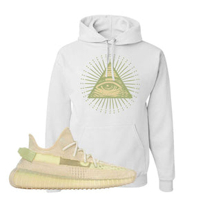Yeezy Boost 350 V2 Flax Hoodie | White, All Seeing Eye