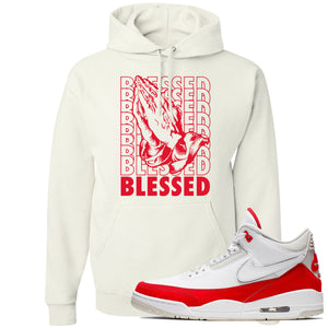 This white and red hoodie will match great with your Jordan 3 Tinker Air Max shoes