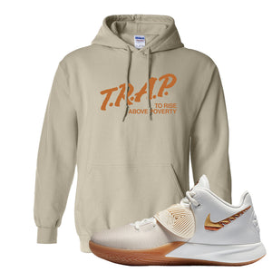 Kyrie Flytrap 3 Summit White Hoodie | Trap To Rise Above Poverty, Sand
