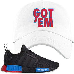 NMD R1 Black Red Boost Matching Dad Hat | Sneaker Dad Hat to match NMD R1s | Got Em, White