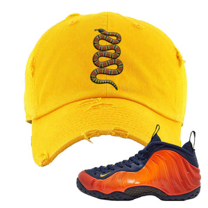 Foamposite One OKC Distressed Dad Hat | Gold, Coiled Snake