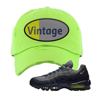 Air Max 95 Midnight Navy / Volt Distressed Dad Hat | Neon Green, Vintage Oval