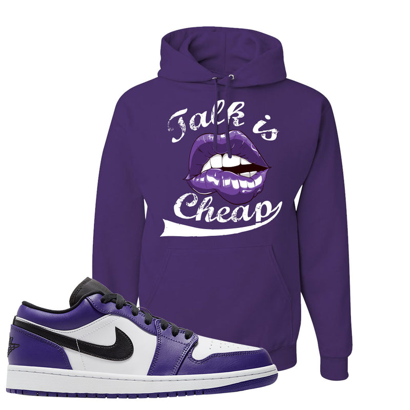 Air Jordan 1 Low Court Purple Hoodie | Talk Is Cheap, Deep Purple