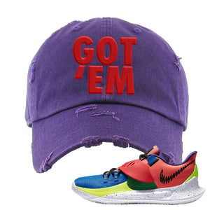 Kyrie Low 3 NY vs NY Distressed Dad Hat | Got Em, Purple