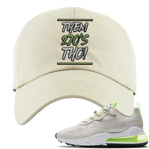 Air Max 270 React Ghost Green Sneaker Stone Ivory Distressed Dad Hat | Hat to match Nike Air Max 270 React Ghost Green Shoes | Them 270 Tho