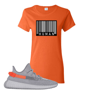 Yeezy Boost 350 V2 Tail Light Sneaker Orange Women's T Shirt | Women's Tees to match Adidas Yeezy Boost 350 V2 Tail Light Shoes | Legit Barcode